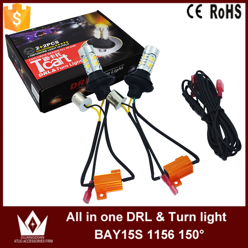 Night Lord Gold Color 20W PY21W Led S25 BAU15S 1156 150dgree LED DRL Daytime Running Lights