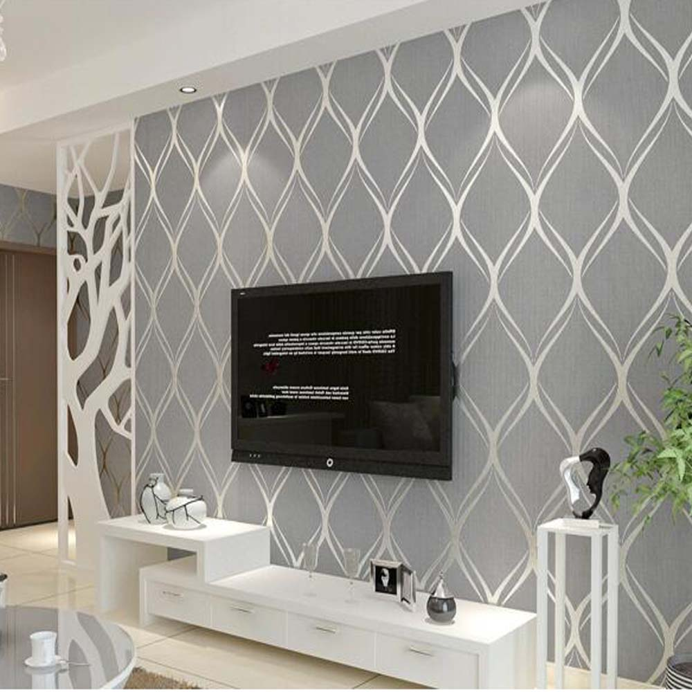 Popular silver grey wallpaper buy cheap silver grey for Wallpaper for lounge wall