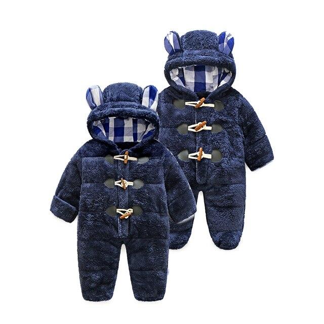 Tbwish invierno recién nacido bebé Mamelucos algodón térmico engrosamiento  caliente Monos coral polar con capucha Niñas f16af51f74ba