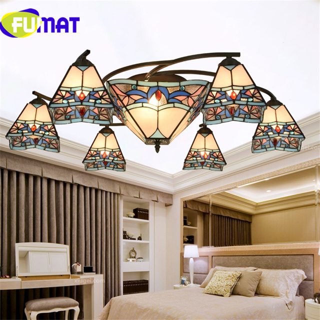 FUAMT Luxury Creative Stained Glass Chandeliers Mediterranean Blue Shade  Light For Living Room Dining Room Art