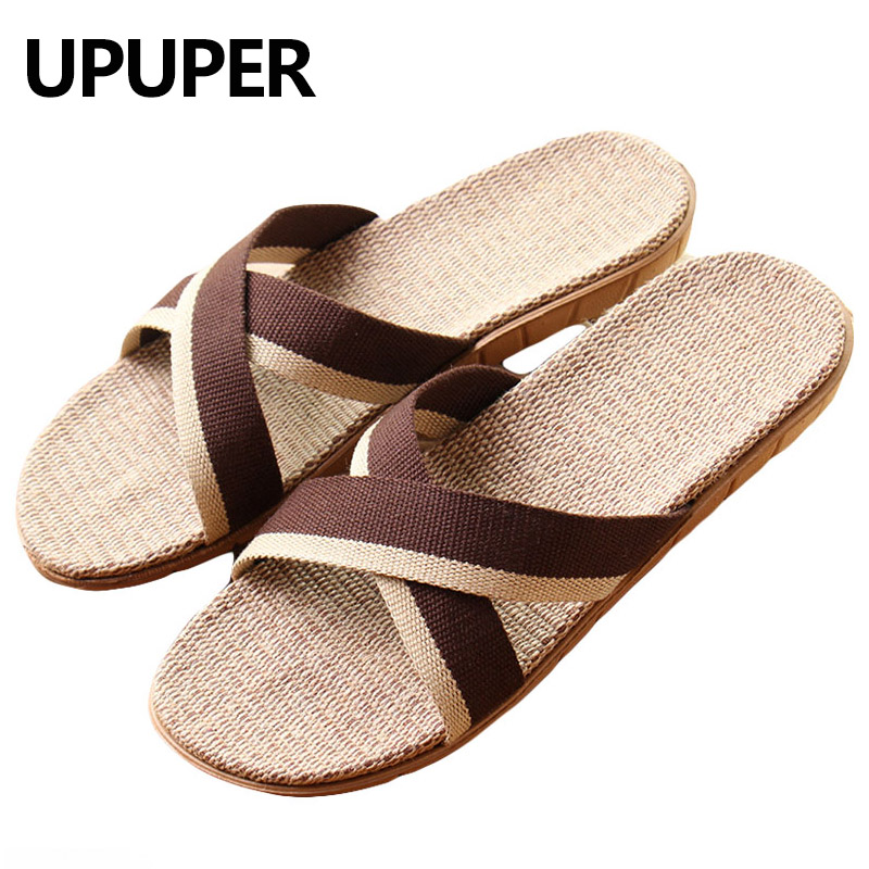 Summer Slippers Men Flax Sweat-absorbent Breathable Linen Non-Slip Flat Sandals Home Slippers Man Fashion Slides Chausson Homme slipper