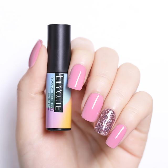 LILYCUTE 5ml  Pink Glitter UV Gel Nail Polish