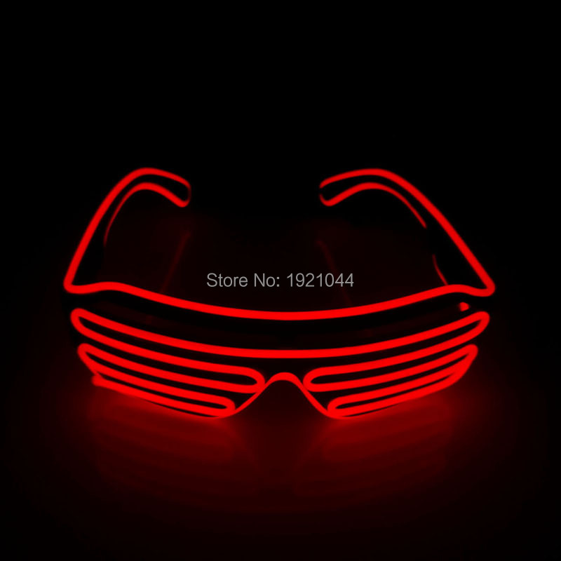 NEW 2017 Red Color EL Wire Neon LED Light Up Shutter Fashionable Glasses With Flashing EL Inverter For Costume Party Decoration