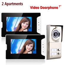 "2 Apartments Video Door Phone Intercom System 7"" Monitor Camera For 3 Families Waterproof"