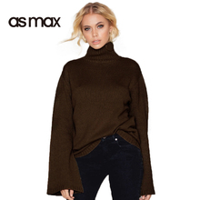 asmax 2017 Fashion Sweater Women Casual Turtleneck Flare Sleeve Solid Coffee Lady Pullovers Brief Female Autumn Sweaters