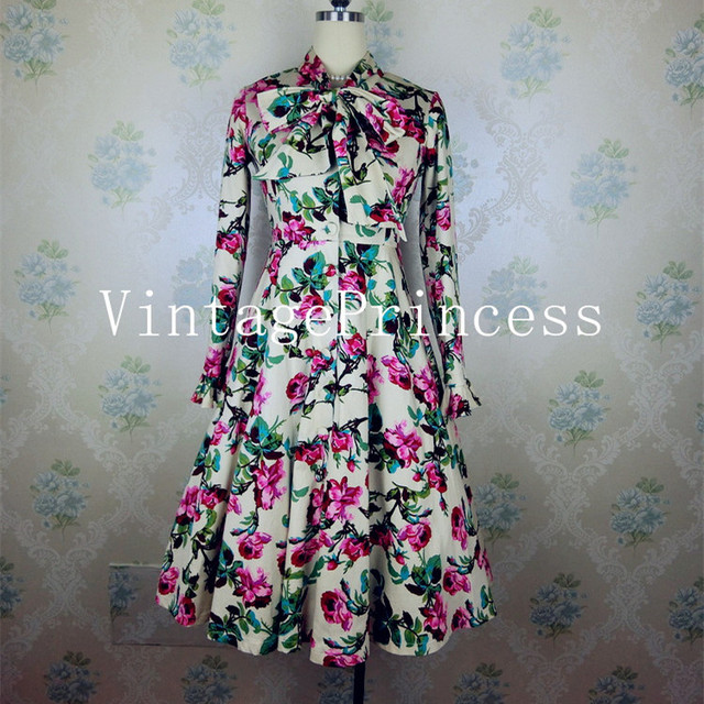 winter women vintage 1950s floral print long sleeve bow swing midi shirt  dress plus size 4xl vestidos rockabilly pin up dresses 282cffb7af8c