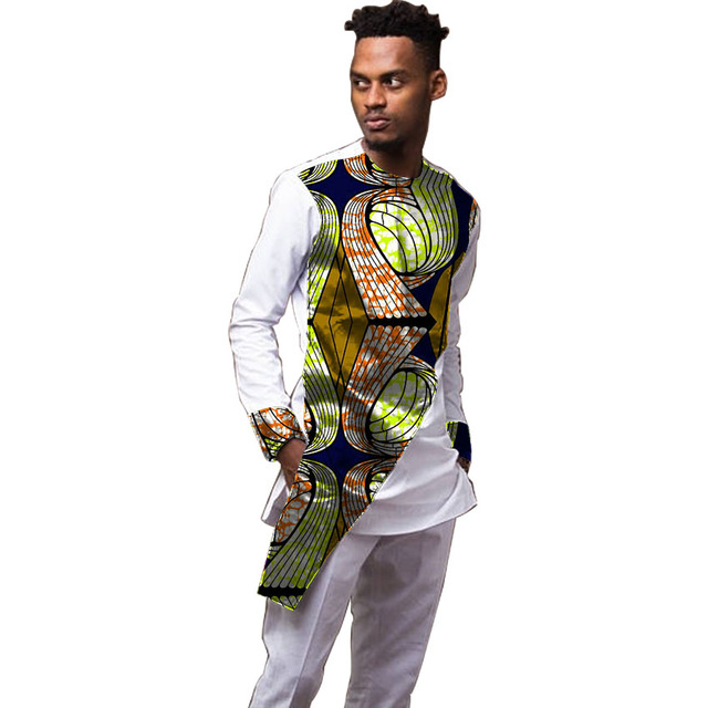 0c1cc68e1f9 Men s Ankara Shirts Fashion Men Long Sleeve African Shirt Dashiki Pattern  Patchkwork Wax Print Festive Casual Kente Shirt