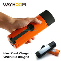 Portable Power Bank Crank LED Torch Flashlight Rachargeable Camping Light Crank Generator Hand Crank Phone Charger