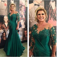 Sexy See Through Emerald Lace Scoop Neckline Satin Floor Length Appliques Long Sleeves Mother of the Bride Dress For Wedding