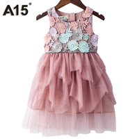 A15 Kids Girl Ball Gown Dress 2017 Infant Girl Summer Lace Dress Age 3 5 6 8 10Y Princess Birthday Party Dress Children Clothing