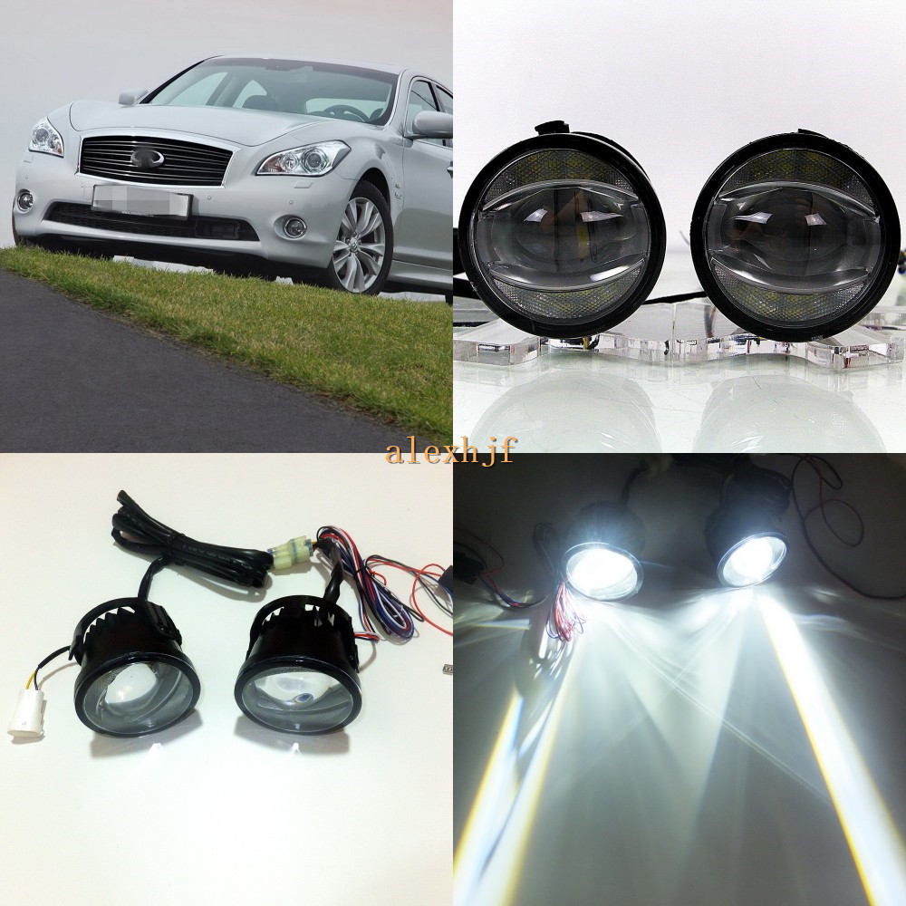 July King 1600LM 24W 6000K LED Light Guide Q5 Lens Fog Lamp+1000LM 14W Day Running Lights DRL Case for Infiniti M25 M35 M35h M45 for opel astra h gtc 2005 15 h11 wiring harness sockets wire connector switch 2 fog lights drl front bumper 5d lens led lamp