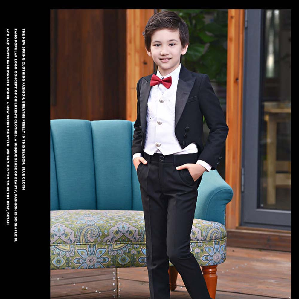 Boys Tuxedo Suits for Weddings Boys Blazers Suit Jacket+Blouse+Tie+ ...