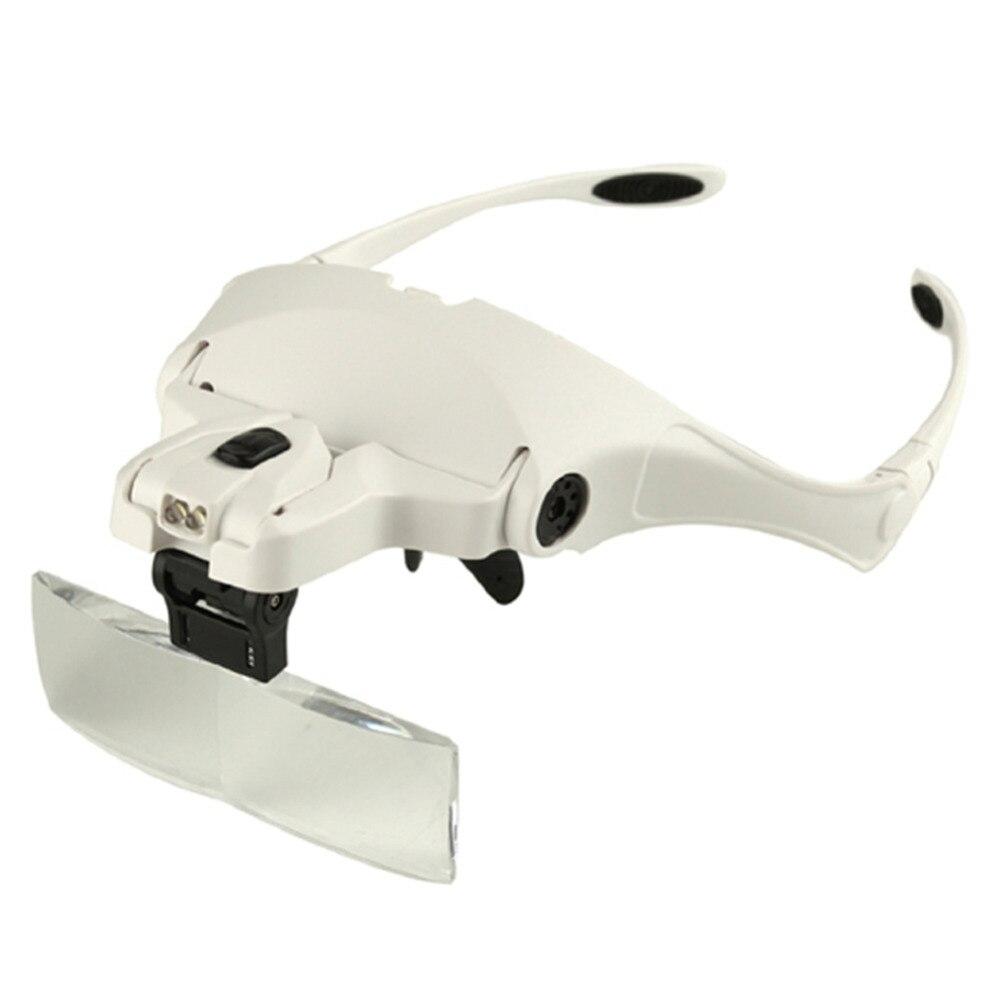 1.0X-3.5X Ajustável 5 Lente Lupa Cabeça 2 Luzes LED Óculos Lupa Lupa com Lâmpada Ferramentas de Reparação de Jóias