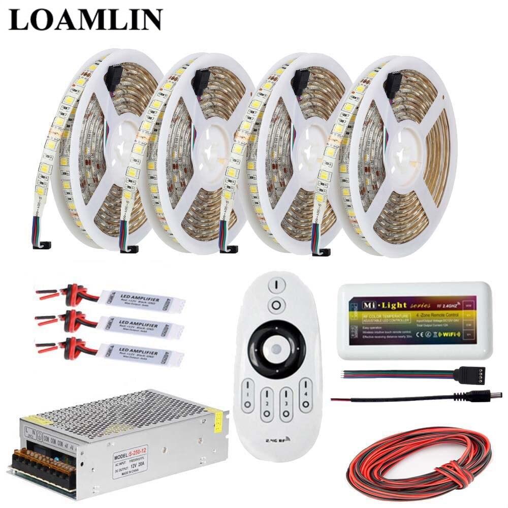 5メートル10メートル15メートル20メートルledストリップライト5050smd色温度(cct)、2.4グラムmilightリモートledコントローラー電源アダプタ電源dc12vキット  グループ上の ライト & 照明 からの LED ストリップ の中 1