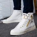 Высокая-топ Повседневная Обувь 2016 Мода Мужская Обувь PU Кожаные Ботинки Хип-Хоп Обувь Молнии дизайнеры Zapatos Chaussure Корзина XX216