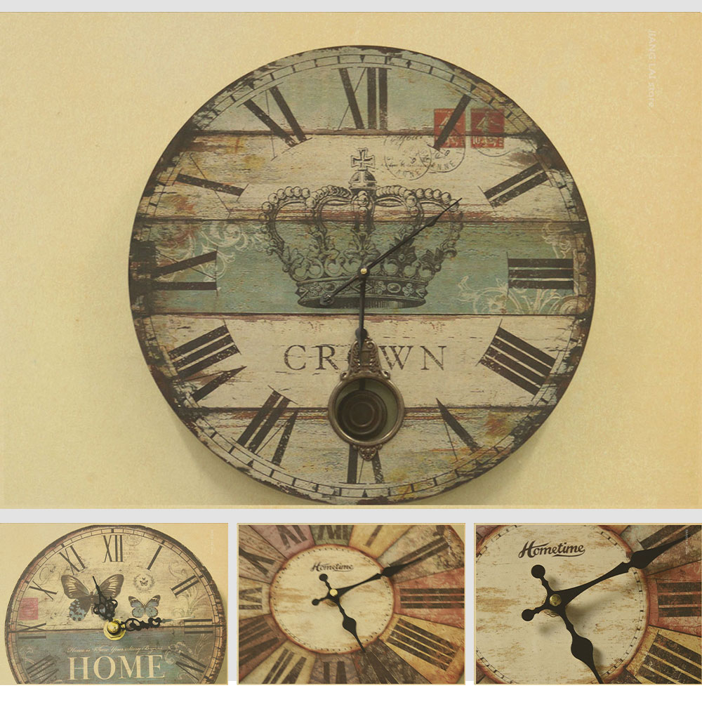Vintage Wall Decor For Living Room : Vintage poster clock designs wall art sticker retro