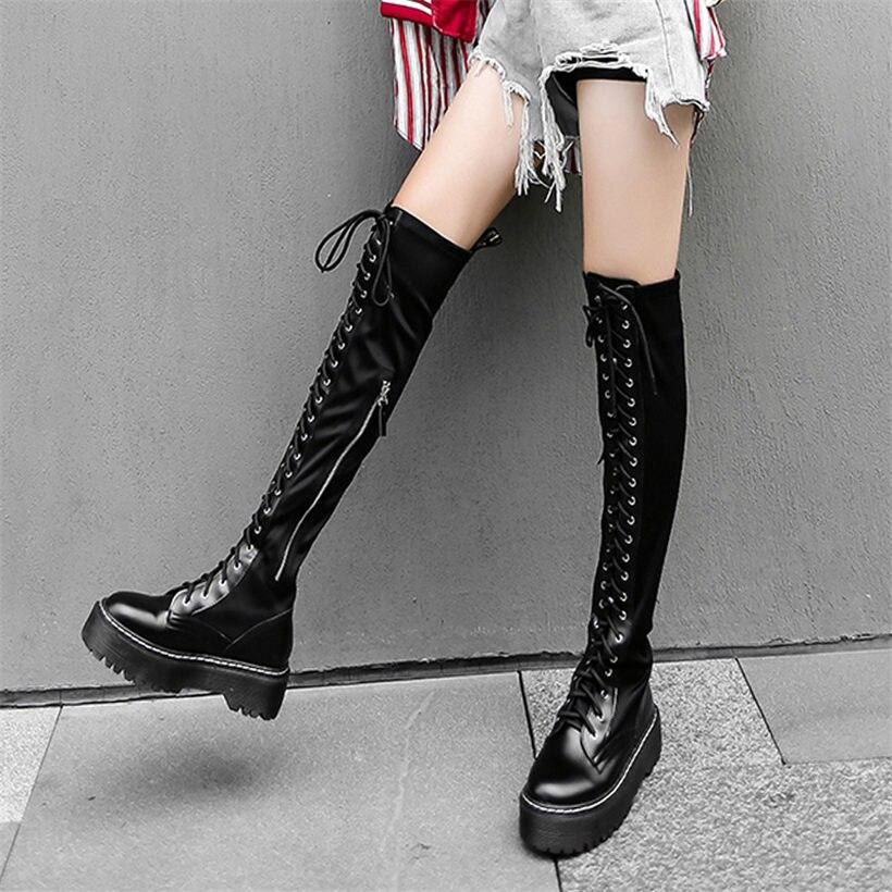 NAYIDUYUN cuissardes moto bottes femmes à lacets sangles sur le genou chaussons haut arbre Punk baskets Oxfords noir Creepers