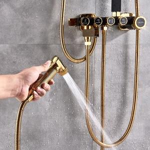 Image 3 - 골든 화이트 샤워 꼭지 벽 샤워 믹서 시스템 강우량 샤워 헤드 황동 바디 마사지 제트 샤워 세트 회전 오르네