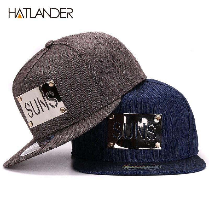 Prix pour Hatlander fantaisie mens coton gris snapback avec boucles en métal logo flat bill casquette de baseball hip hop pour hommes et femmes