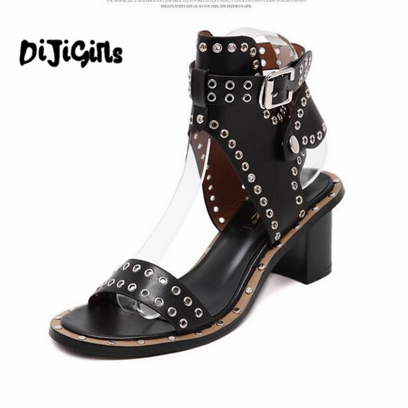 New Summer Style Woman Fashion Ankle Strap Rome medium heel Shoes Rivets Square Sandals rome style rivet nature cow leather sandals 2017 ankle strap flat heel summer shoes woman black white big size 34 43