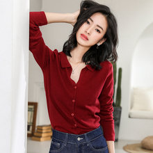 LHZSYY Spring Autumn New Womens Cashmere Cardigan Sweater Round Neck Knit Wild Wool sweater Solid Color Short Bottoming Shirt