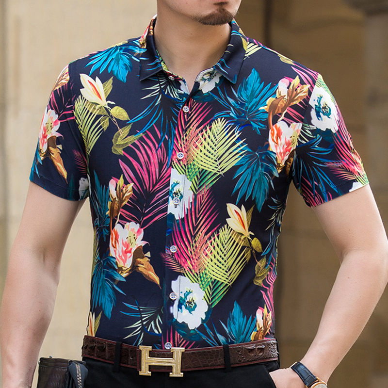 Mens shirts Hot sale summer 2018 mens flowers printing clothers male short sleeve casual floral dress shirts