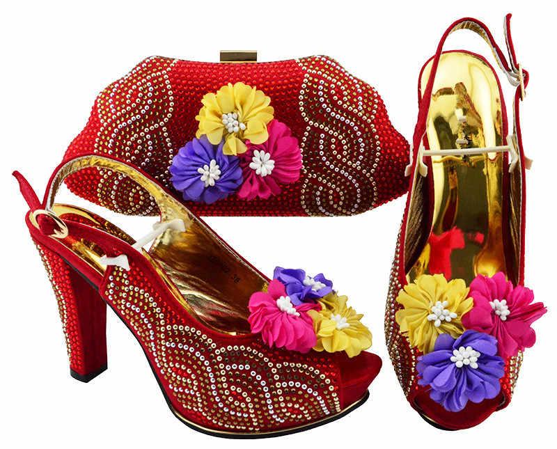 Inanılmaz mor çiçek dekorasyonu bayan yüksek topuk ayakkabı ve çanta çanta setleri, topuk yüksekliği 11 cm JZS-02