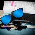 2016 Nueva Moda gafas de Sol Polarizadas de Los Hombres de Los Hombres de Conducción Espejos Recubrimiento Marco Negro Gafas Masculinas Gafas de Sol Con Caja De Cristal