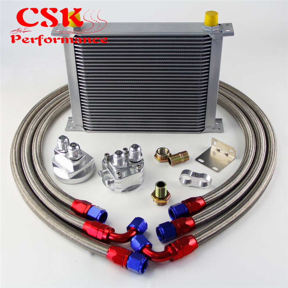 30 Row AN10 Universal Engine Transmission Oil Cooler British Type + Filter  Adapter Kit Silver/Blue/Black