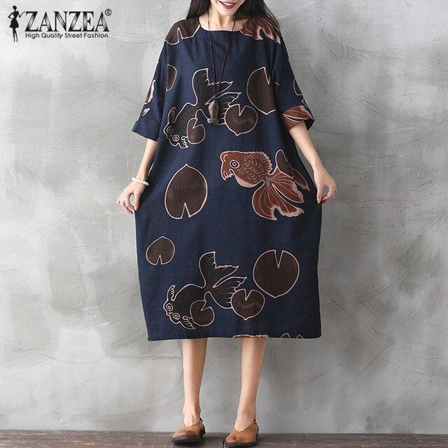 65f396745a0 ZANZEA Boho Goldfish Printed Summer Womens Half Batwing Sleeve Cotton Linen  Mid Calf Dress Baggy Kaftan Tunic Vestido Plus Size