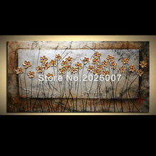 Hand Painted Wall Art Blooming Wild Flower Pictures Palette Knife Textured Oil Painting Canvas Wall Living Room Fine Art Artwork