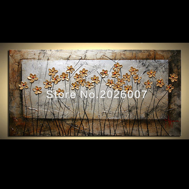 Hand Painted Wall Art Blooming Wild Flower Pictures Palette Knife