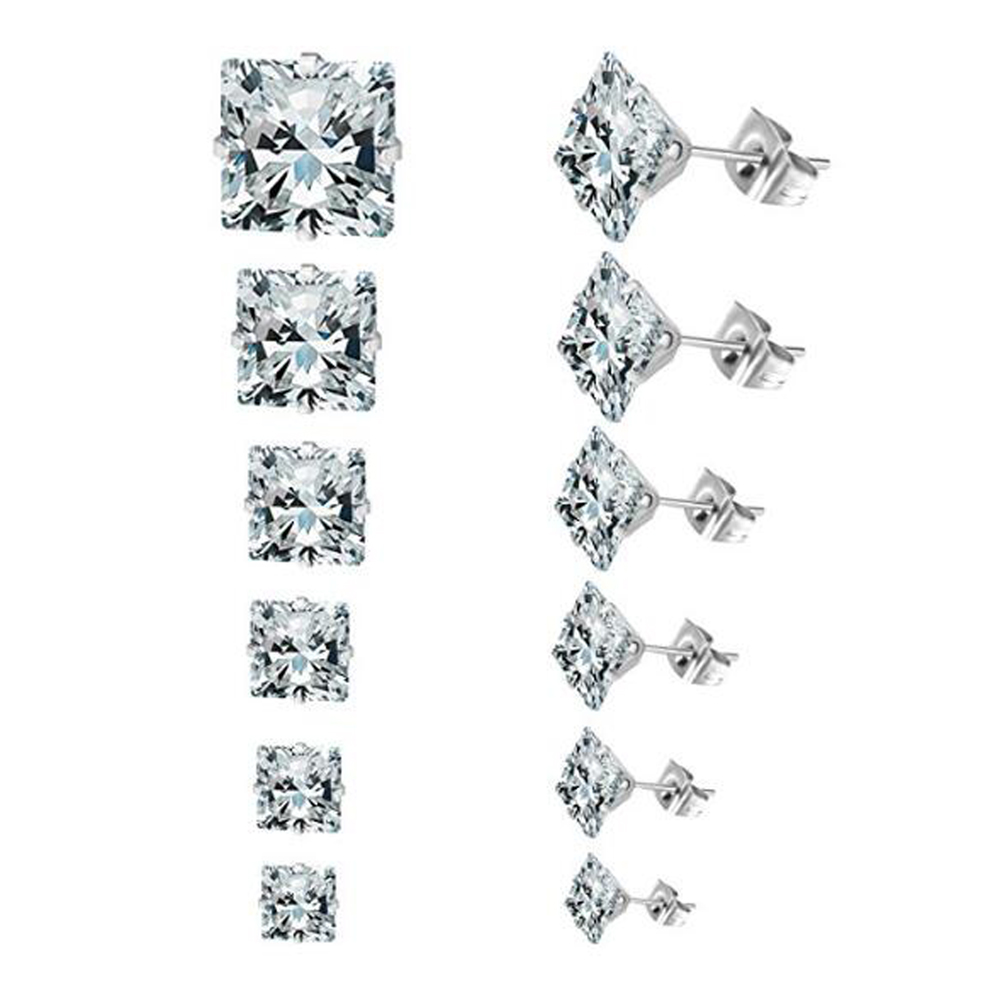 1 pair 3mm-8mm New Fashion Wholesale Square Zircon Crystal Stud Earrings For Women Wedding Cheap Jewelry Brincos Accessories