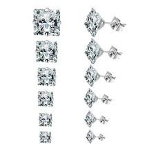 1 par 3mm-8mm nova moda por atacado quadrado zircão brincos de cristal para o casamento feminino barato jóias brincos acessórios