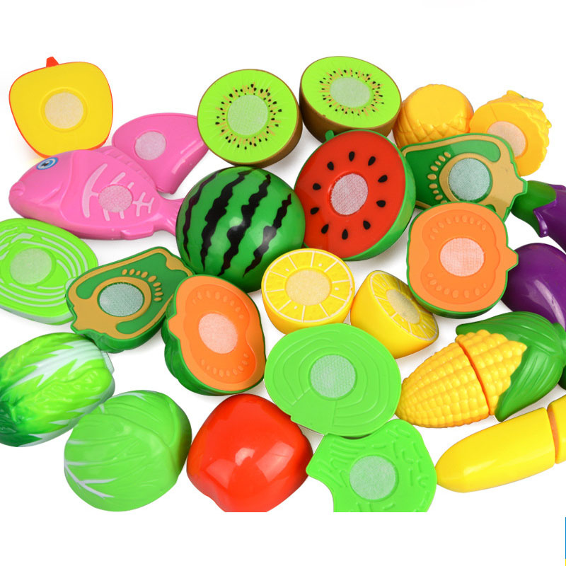 12PCS DIY Simulation Kitchen Food Fruit Vegetable Food Dishes Cutting Kids Pretend Play Educational Toy Cook Cosplay Safety