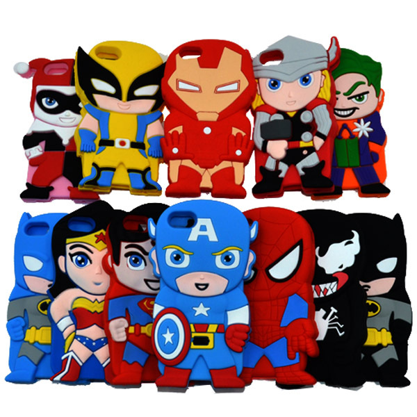 2015 Marvel Comics Super Heros Batman Wolverine Spiderman Silicone Phone Cases Apple iphone 5 5s - UAU(Shenzhen store Trading Co.,Ltd)