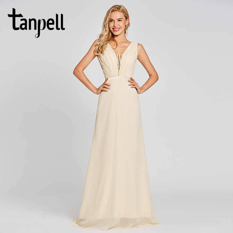 Tanpell v neck long evening dresses daffodil sleeveless sequins floor length  a line gown women prom 213ada842e55