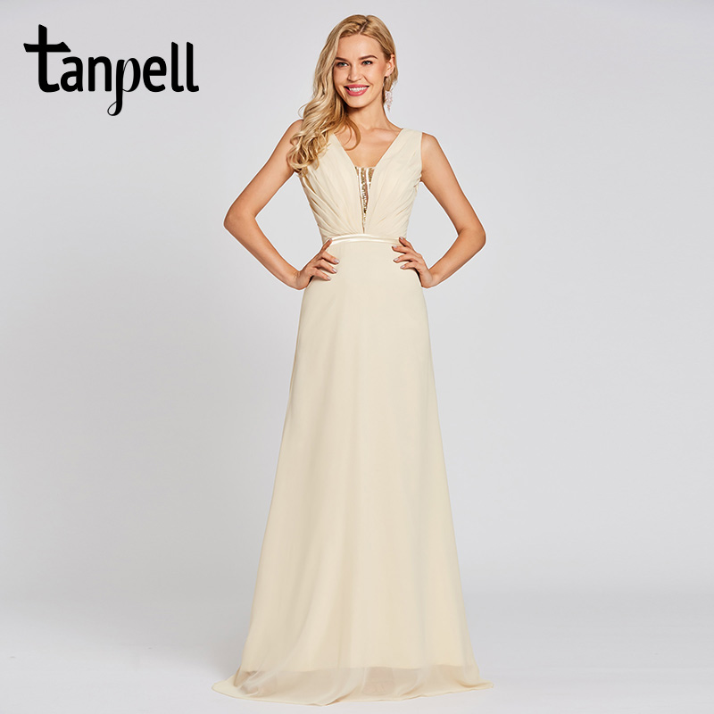 Tanpell v neck long   evening     dresses   daffodil sleeveless sequins floor length a line gown women prom chiffon formal   evening     dress