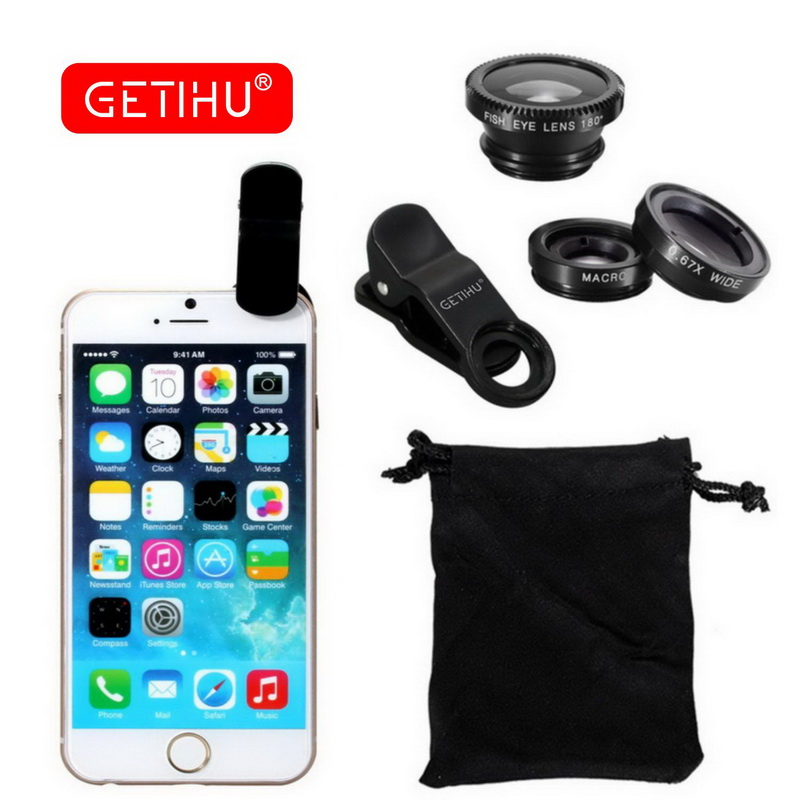 3 in 1 Universal Mobile Phone Lenses Wide Angle Macro Fisheye Lens Camera Fish Eye Lentes For iPhone 6 7 Smartphone Microscope