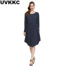 Uvkkc Women Dress Autumn Boho Fashion Femme O-Neck Dot Ruffles Pocket Long Sleeve Vintage Cotton Casual Midi Dresses For