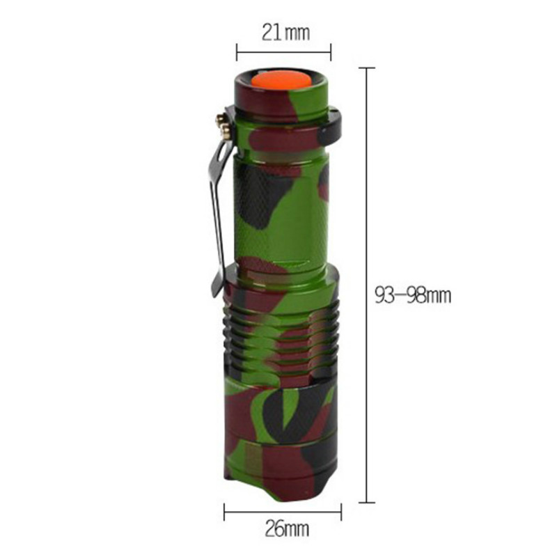 Telescopic Q5 Mini Flashlight Outdoor Camouflage Aluminum Light Flashlight Outdoor Riding Supplies Camping in Bicycle Light from Sports Entertainment