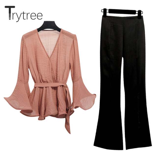 Trytree Women Autumn two piece set Casual Fashion tops + pants Top V-neck Office Polyester Solid Suit Set 2 Piece Set