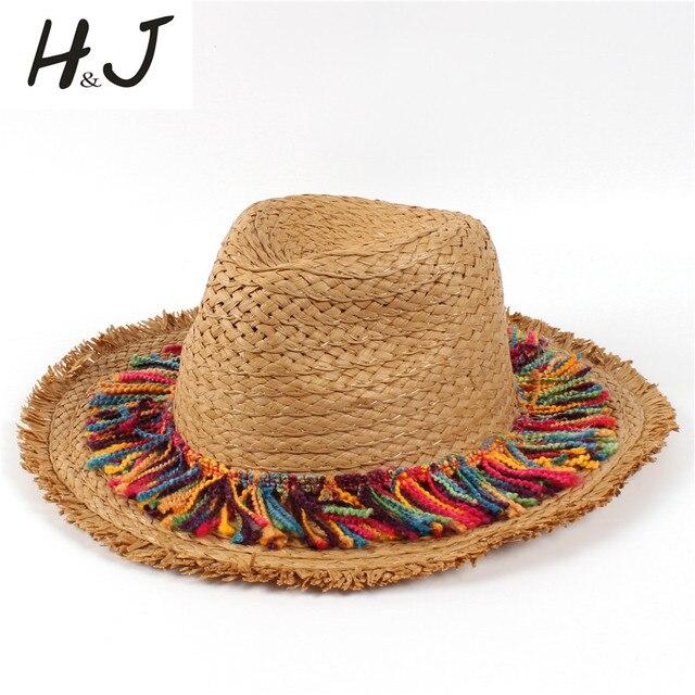 985864a3f0d09 100% Raffia Straw Women Summer Travel Beach Sun Hat For Elegant Lady  Seaside Tassel Floppy Wide Brim Panama Sunbonnet