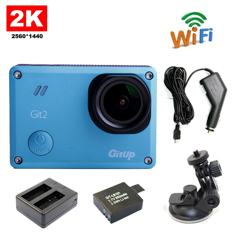Free Shipping!!GitUp Git2 Novatek 96660 WiFi 2K Sports Action Camera+Extra 1pcs Battery+Battery Charger+Car Holder+Car Charger free shipping 2017 newest mini wifi sports camera r360 220degree eyefish lens