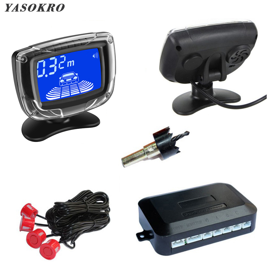 Vehicle Parking Sensor Car Reverse Radar Distance LCD Display With 4 Sensors Backup Parking Radar Monitor Detector Alarm System