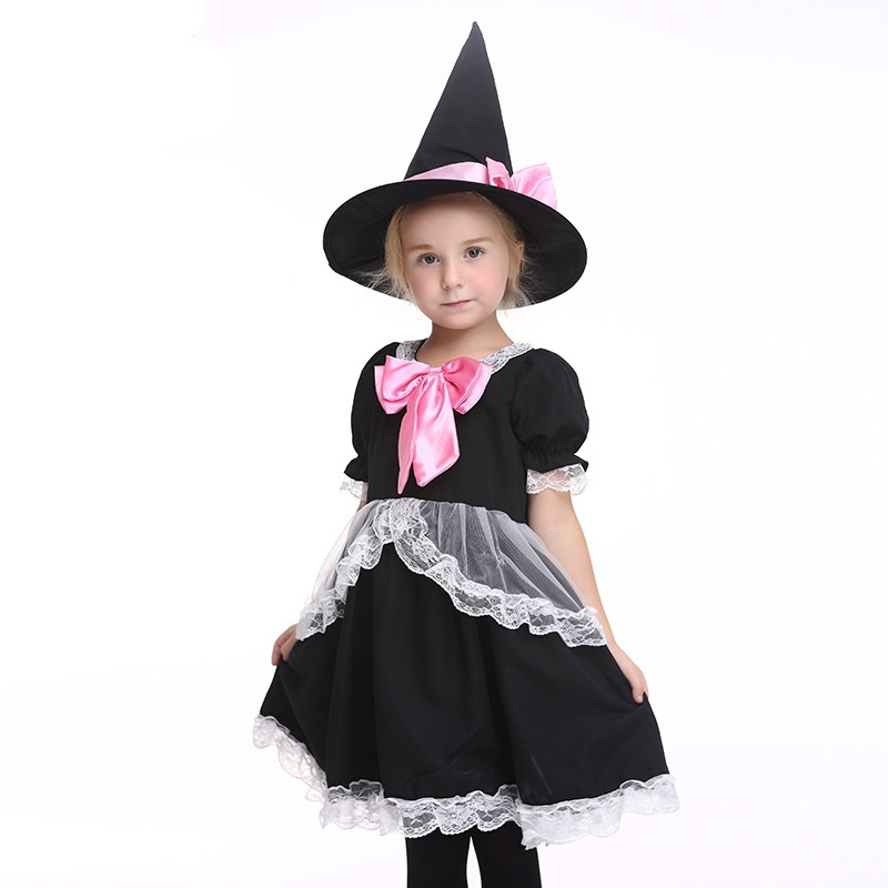 Kids Girls New Style Halloween Costume Christmas Dress up Party Witch Lace Dress Pink Bow Children Stage Performance Clothes+Hat цена