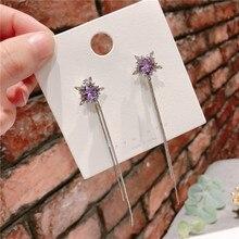 Korean Fashion Earrings  silver needle purple snowflake chain earrings drop for women long crystal jewelry
