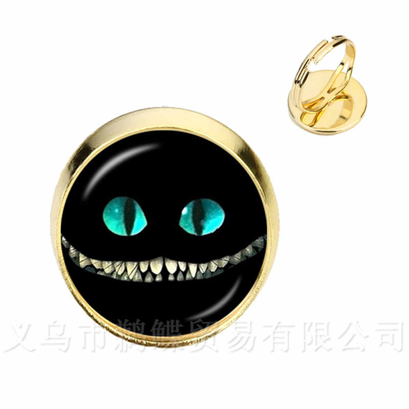 Alice In Wonderland Rings Cheshire Cat Glass Round Dome DIY Jewelry Silver/Golder Plated 2 Color Rings For Women Gift
