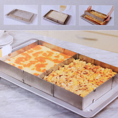 Stainless Steel Square Adjustable Mousse Cake Ring  Baking Mold Baking Tools Bakeware UK Brand Cake Kitchen Oven Scalable tool