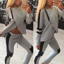 2 Piece Set Women Tracksuits Sportsuit 2017 Autumn Ladies Zipper Split Hooded Sweatshirts Casual Female Sportswear